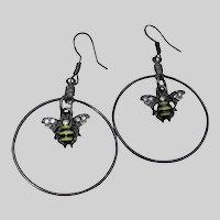Artisan BEE Dangle Hoop Black Enamel & Rhinestone Earrings