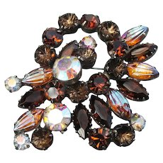 Magnificent Large Vintage Unsigned WEISS Amber Rhinestone Brooch Pin