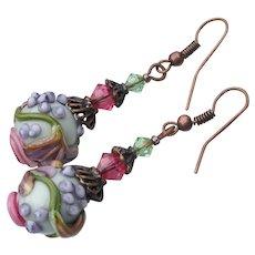 Handmade Artisan Lampwork Glass FLOWER Bead & Crystal Dangle Copper Earrings