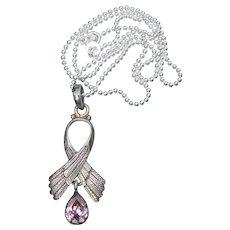 Sterling Silver Angel Wing & Pink Topaz Vintage Pendant Necklace