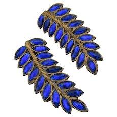 Pair 1930's Sapphire Blue Rhinestone LEAF Fur Dress Clips Pin