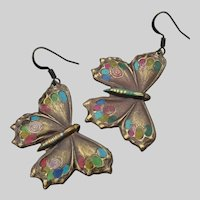 Artisan Hand-Patinated Antiqued Brass Butterfly Dangle Pierced Earrings