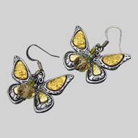 """Artisan """"Faith & Hope"""" Butterfly Dangle Crystal Earrings"""