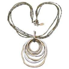 Laura Ashley Vintage 4 Strand Layered Circles Necklace