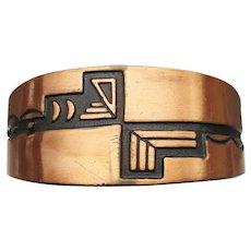 Vintage Wide Unisex Native American Solid Copper Cuff Bracelet