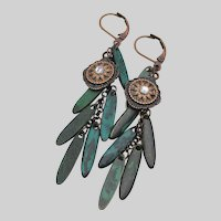 Artisan Steampunk Patinated Copper LEAF Dangle Lever Back Earrings