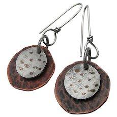 Artisan Sterling Silver & Copper Double Disk Dangle Earrings