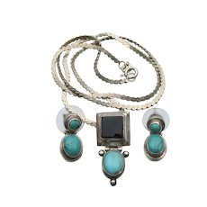 Sterling Silver Turquoise & Black Onyx Vintage Necklace & Pierced Earrings Set