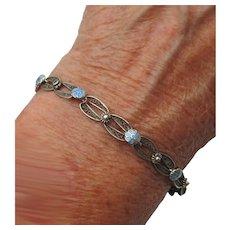 1920's Vintage Sterling Silver & Turquoise Enamel Vintage Filigree Link Bracelet