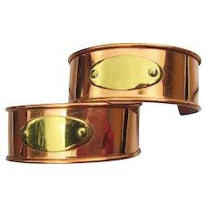 Pair of Vintage Copper & Brass Engravable ID Cuff Bracelets