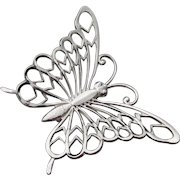 Signed BEAU STERling Vintage Butterfly Brooch Pin
