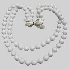 Vendome Vintage 2 Strand Chunky White Lucite Bead Necklace, BOW Clasp