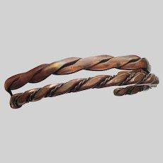 Pair of Vintage Men's Unisex Solid Copper Twist Cuff Bracelets