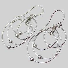 Sterling Silver Solar System Vintage Dangle Pierced Earrings