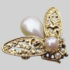 1928 Jewelry Co. Victorian Revival Vintage Faux Pearl FLY BUG Brooch Pin