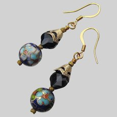 Vintage Blue Cloisonne' Bead & Swarovski Crystal Artisan Earrings Gold Filled Dangle Earrings