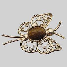 Sarah Coventry 1970's Vintage Tiger Eye SCARAB Butterfly Brooch Pin