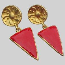 Etruscan Revival Red Enamel 1980's Vintage Large Dangle Pierced Earrings