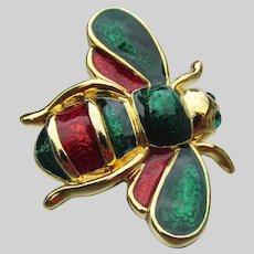 Cute Green & Red Enamel Vintage BEE Pin