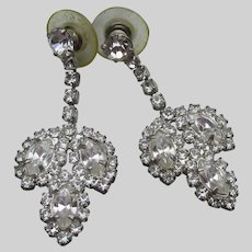 Signed W LIND Vintage Lindenwold Crystal Rhinestone Pierced Dangle Earrings