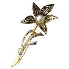 Faux Pearl Vintage Spanish Damascene Enamel Flower Brooch