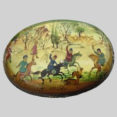 Antique Persian Chinese Brooch Hand Painted MOP Hunting Scene Pin Horses Men
