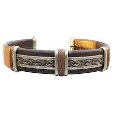 Unisex Men's Leather, Brass & Silver Large Vintage Cuff Bracelet
