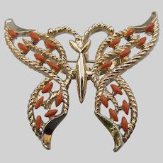 Signed GERRY'S Vintage Coral Cabochon Butterfly Brooch Pin