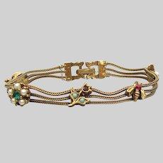 Signed GOLDETTE NY 3 Strand Mesh Chain Vintage CHARM Bracelet