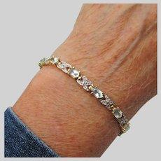 Sterling Silver & Gold Vermeil Blue TOPAZ Vintage Bracelet