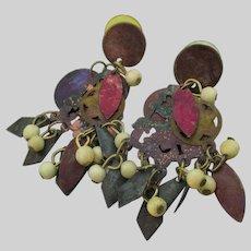 Brutalist Vintage Layered Dangles Pierced Copper Earrings