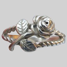 Pretty Sterling Silver ROSE Flower Vintage Ring, Size 6