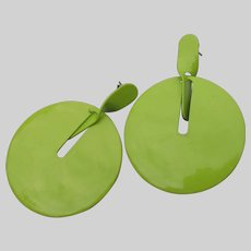1960's Vintage MOD Lime Green Dangling Modernist Circle Hoop Earrings
