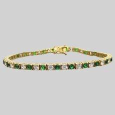 Gold on Sterling Silver Emerald CZ Vintage Tennis Bracelet