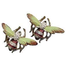 Pair of Pretty Signed RJ Vintage Enamel Bee Pins