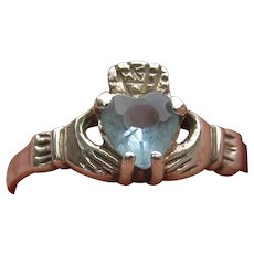 Sterling Silver Blue Topaz Vintage Irish Good Luck Claddagh Ring, Size 7