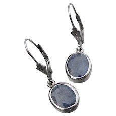 Faceted Lapis Lazuli Sterling Silver Vintage Lever Back Dangle Earrings