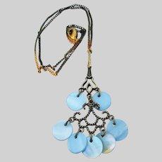 Vintage Avon NRT Blue Mother-of-Pearl Disc Chandelier Necklace