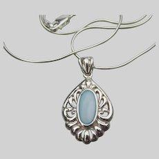 Vintage Larimar Sterling Silver Pendant Necklace