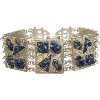 Vintage INDIE Silver Plated LAPIS Lazuli Inlaid Chip Wide Link Bracelet