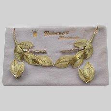 1950's Vintage Germany Princess Brand Rhinestone Necklace & Earrings Set, NEW on Card!