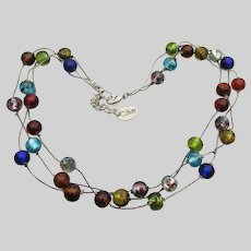 Signed ZAD 3 Strand Murano Venetian Glass Bead Vintage Necklace