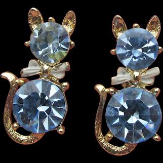Pair (2) Vintage 1950's Kitty Cat Blue Rhinestone Scatter Pins Brooch