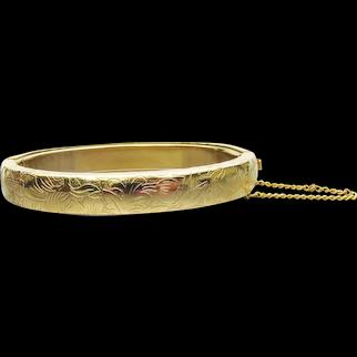 Vintage Victorian Revival Flower Etch Hinged Bangle Bracelet