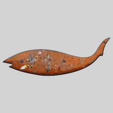 Mid-Century Modern Vintage Abstract Orange Enameled Copper Fish Pin Brooch