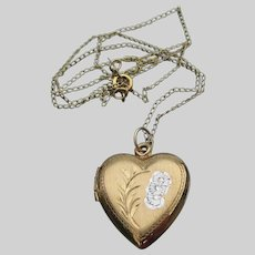 1940's WWII Vintage Gold Filled Sweetheart Heart Locket Necklace