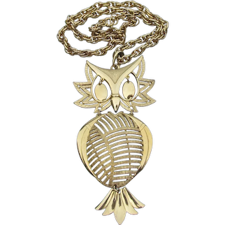 1960's Signed ALAN Big Gold Tone OWL Necklace