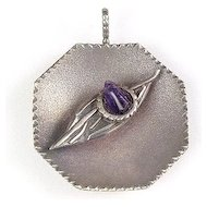 Unique Modernist Silver Pendant with Amethyst