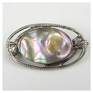 Victorian Sterling Blister Pearl Brooch