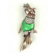 Vintage Vermeil Parrot Brooch with Green Enamel RS